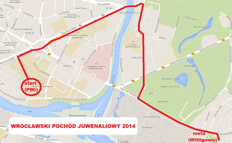 Pochód juwenaliowy 2014 trasa